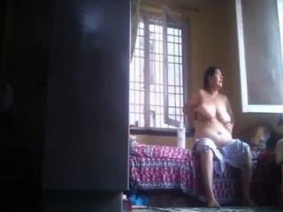Desi Granny Rubs Lotion After Bath