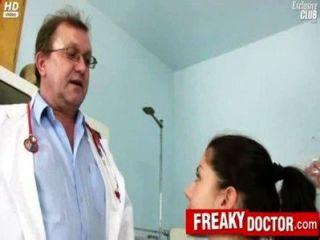 Hot Czech Brunette Monika Gets Fingered By Daddy Doctor