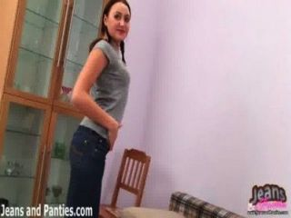 Tiny Teen Sara In Pigtails And Skinny Jeans