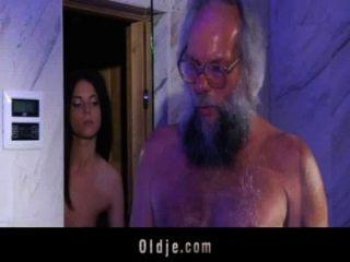 Hairy Grandpa Fucks A Teeny In Her Bathroom