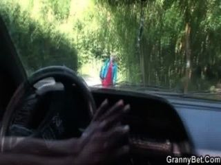 Old Bitch Gets Nailed In The Car By A Stranger