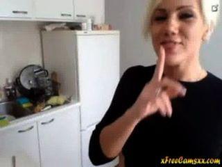 Super Sexy Blonde Milf Strips In Her Kitchen On Cam