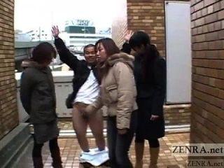 Japanese Women Tease Man In Public Via Handjob Subtitled
