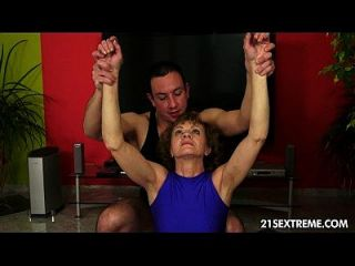 Old Katherin Learns About A Sexy New Yoga Method From Her Young Guru