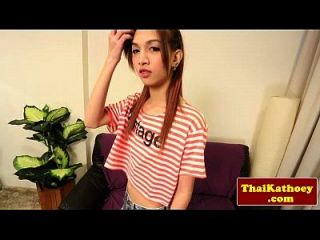 Thai Skinny Ladyboy With Braces Jerks