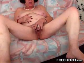Grandma With Big And Saggy Tits Fingers Her Pussy