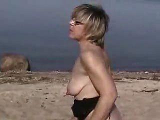German Mature Milking Tits On Beach