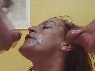 Horny Bukkake Slut Getting Her Face Creamed After Steamy Fucking Orgy