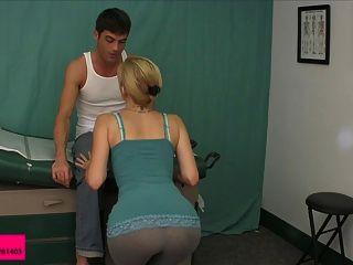 Cute Blond Jerks Him Off On Her Leggings