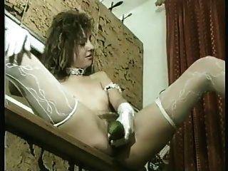 Cucumber Deep Inside Hairy Pussy