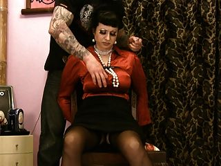 Busty Satin Milf In Distress Ripped Clothes Pussy Toyed