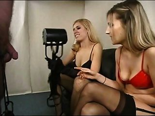 2 Sexy Blond Stocking & High Heel Femdom Ball Busters