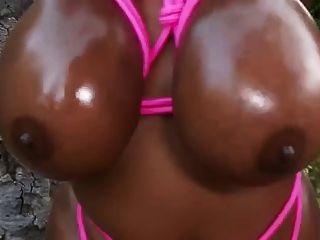 Black Huge-boobs-babe In Outdoors Bondage-treatment