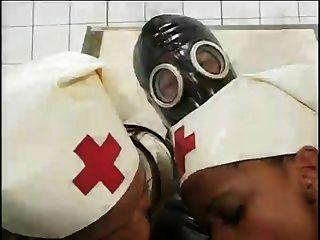 Ebony Nurses Ride Tied Down Gas Mask Guy