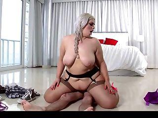 Hot Bbw Blonde Fucks Her Guitar Instructor In Stockings