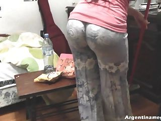 Hot Round Ass Teen Cleaning The House And Teasing
