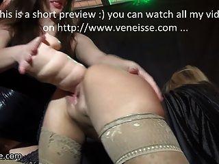 Veneisse Lesbian Deep Double Fisting & Giant Dildo