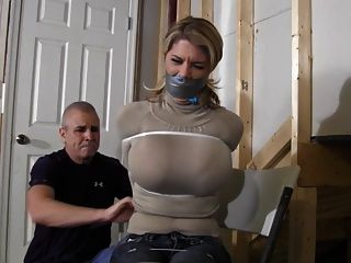 Mature blond dominatrix restrains brunette puma with nipple clips in fortress - 2 part 10