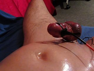 Huge Hands Free Cum Shot With Oiled Cock Electro Stimulation