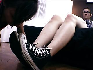 Lesbian Slave Worshiping Shoes, Socks And Feet!