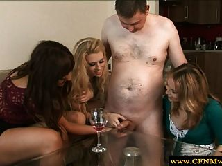 Cfnm Femdoms In Group Giving Handjob To Pathetic Sub