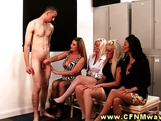 Cfnm Group Blow Their Interviewer In The Lockerroom