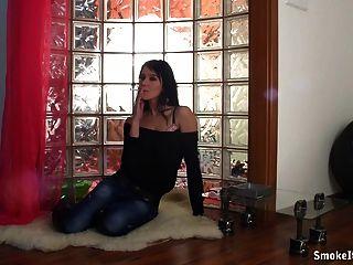 Smoking Hot Babe Film Herself