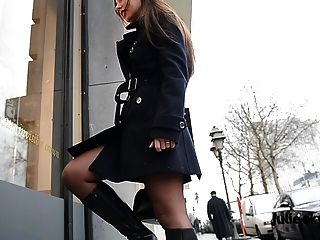 Slutin Public In Boots And Nude Under Trench With Stockings