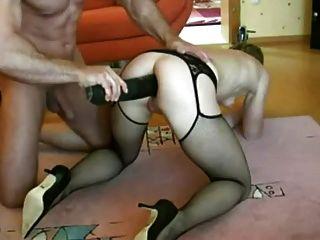 Husband Put A Huge Black Dildo In Wife Ass