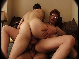French Mature In Glasses Get Dped By Young Men