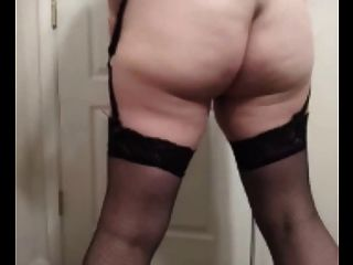 36 G Saggy Tits Milf Lateshay Black Skirt & Stockings Strip