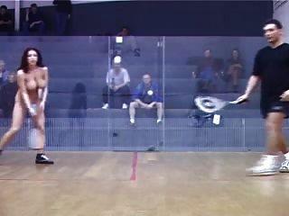 Shameless Girl Playing Tennis Naked In Front Of Men Crowd