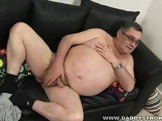 Fat Daddy Jerking His Meat