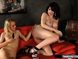 Pornstar Nicki Blue Plays With Shemale Sarina Valentina