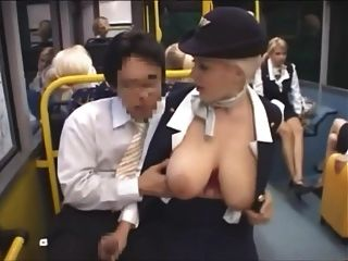 Groping Big Tits In A Bus