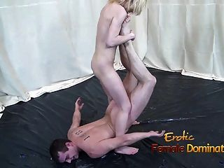 Kick-boxing Girl Showing Off Her Skills In A Nude Mixed Figh