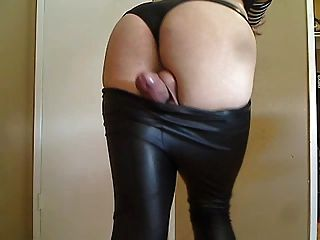 Amazingly Hot Sissy Boy Cums Hands Free In Leather Leggings!