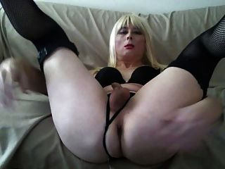 Sexy Black Lingerie Blond Tasha Big White Ass Crossdresser