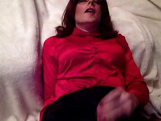 Sweet Ejaculation Over My Satin Blouse And Satin Skirt