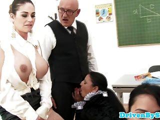 Four Glamour Schoolgirls Enjoy Classroom Orgy
