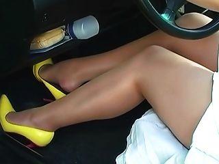 Beautiful Feet In Pantyhose Pedal Pumping