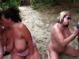 Nude Beach - Matures Bukake Party