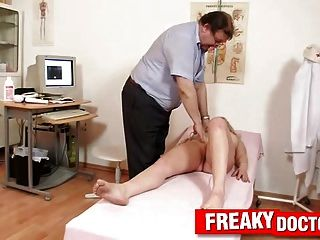 Chubby Blonde Nataly Gold Gyno-chair Exam By Naughty Doctor