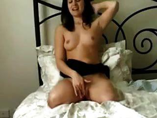 Dak Amputee Brunette Masturbates On Bed Legless
