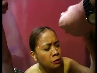 White Dick Cums On Black Face