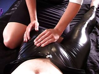 Guy Tied & To Cum In Pvc