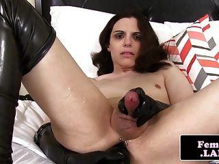 Latex Fembois Queen Masturbating Cock And Ass