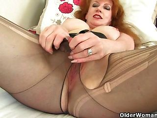 Uk Milf Red Is Looking Hot In Boots And Tights