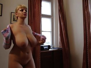 Big Saggy Blonde In Front Of Mirror