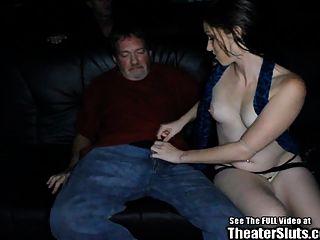 Wild Freckle Gangbang Slut Squirts Milk In Porno Theater